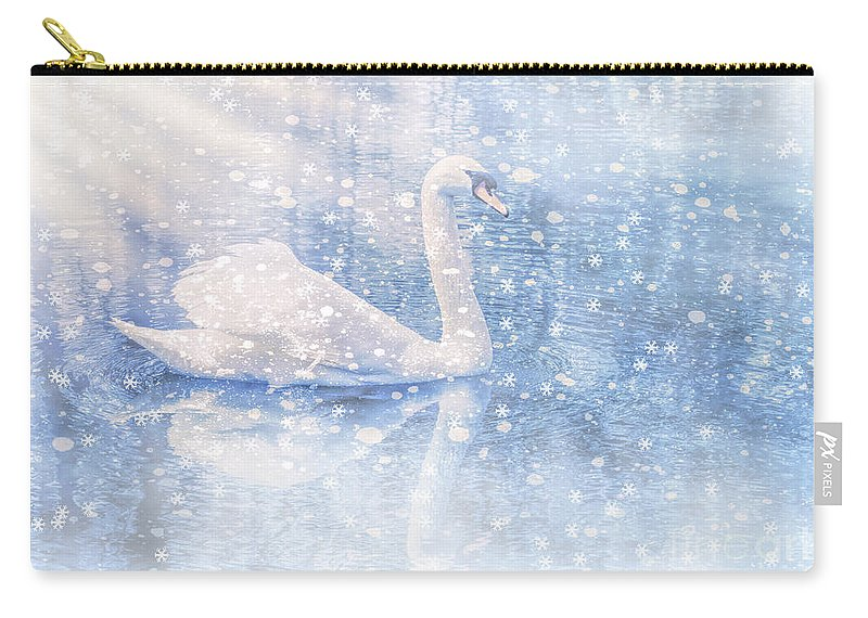 Swan Carry-all Pouch featuring the photograph Winter Swan by Geraldine DeBoer