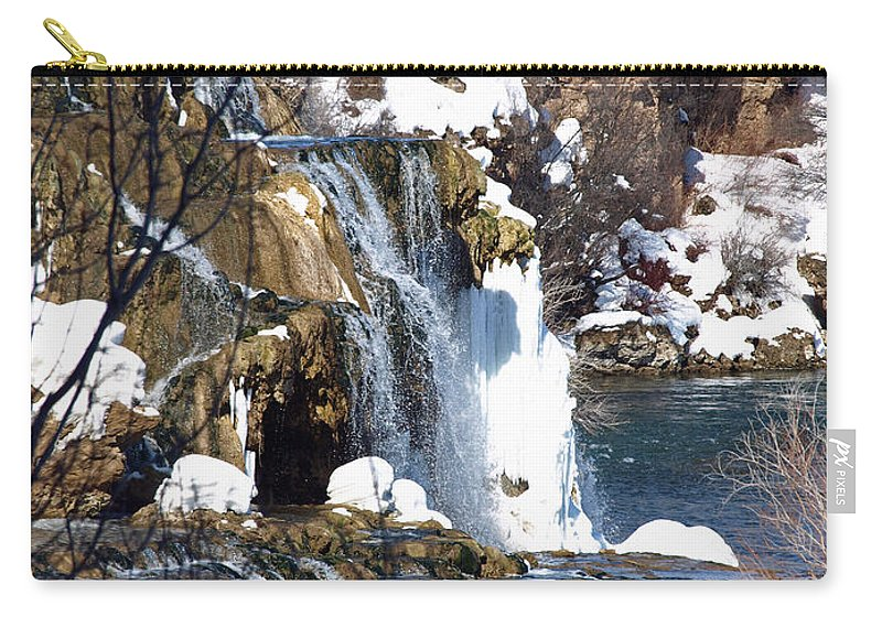 Nature Carry-all Pouch featuring the photograph Winter Time At The Falls by DeeLon Merritt