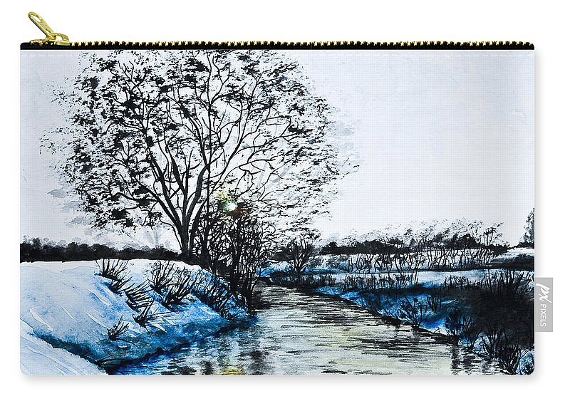 Abstract Carry-all Pouch featuring the painting Winter Time by Svetlana Sewell