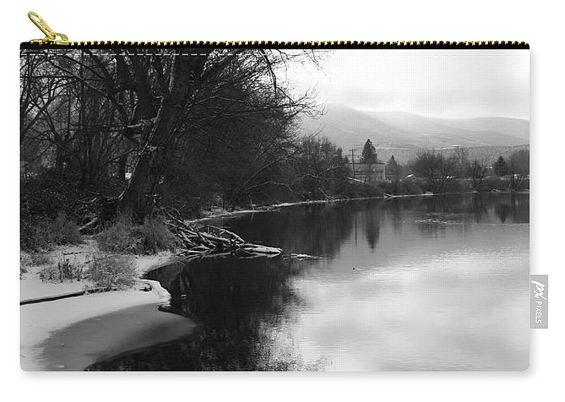 Black And White Carry-all Pouch featuring the photograph Winter Tree Reflection - Black and White by Carol Groenen