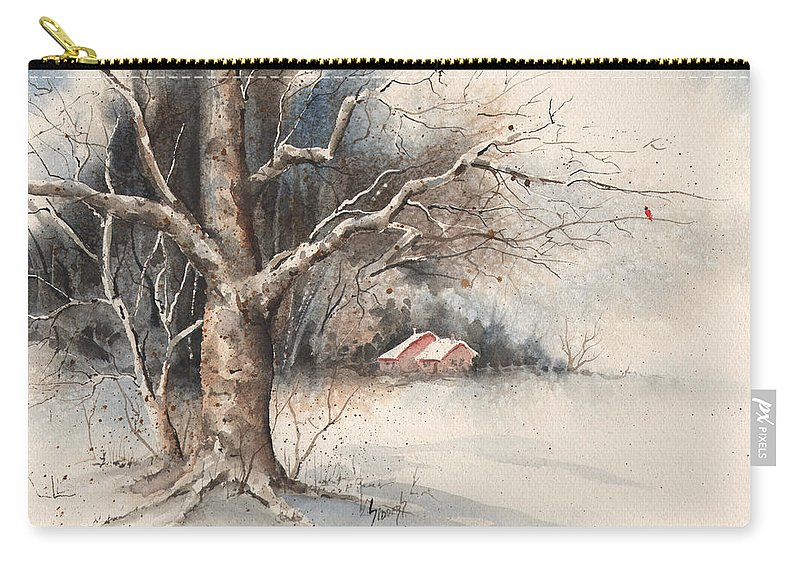 Tree Carry-all Pouch featuring the painting Winter Tree by Sam Sidders