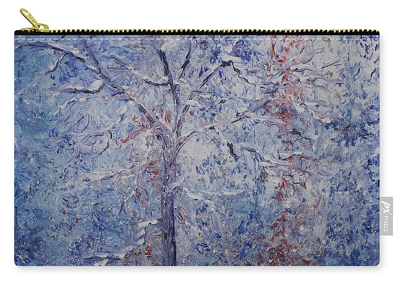 Winter Carry-all Pouch featuring the painting Winter Trees by Nadine Rippelmeyer
