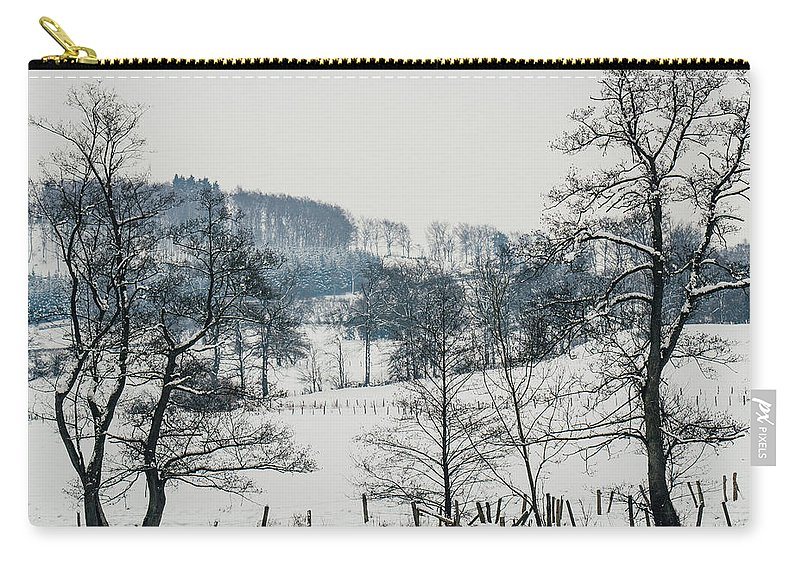 Winter Landscape Carry-all Pouch featuring the photograph Winter Trees Solitude Landscape by Pati Photography