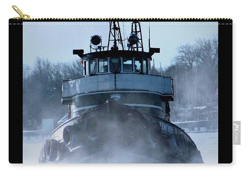 Tug Carry-all Pouch featuring the photograph Winter Tug by Tim Nyberg