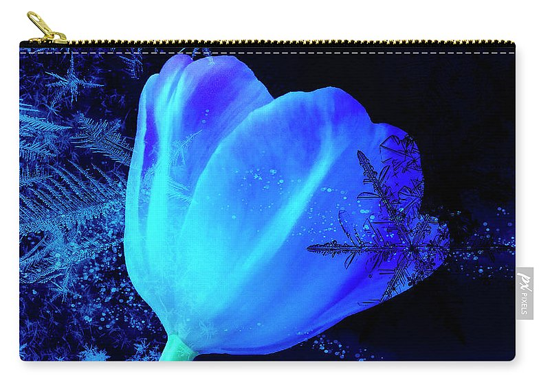 Tulip Carry-all Pouch featuring the photograph Winter Tulip Blue Theme 2 by Johanna Hurmerinta
