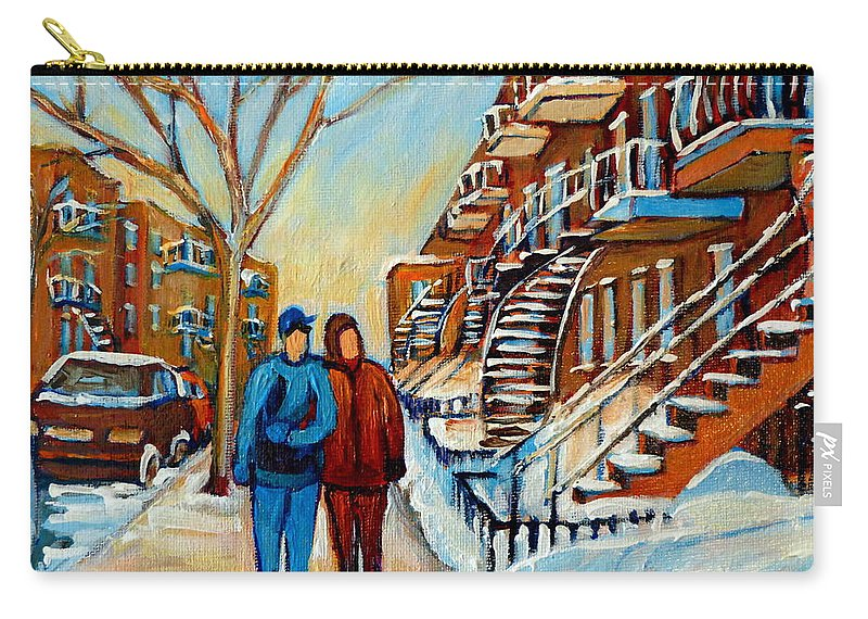 Montreal Carry-all Pouch featuring the painting Winter Walk In Montreal by Carole Spandau