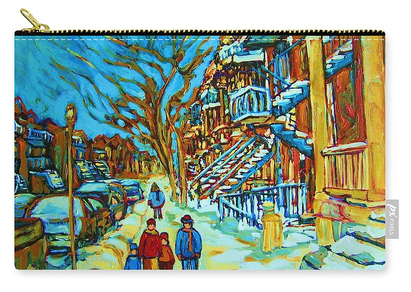 Winterscenes Carry-all Pouch featuring the painting Winter Walk In The City by Carole Spandau
