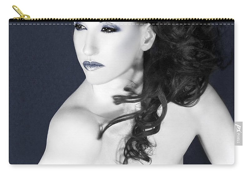 Beautiful Carry-all Pouch featuring the photograph Winter Whisper - Self Portrait by Jaeda DeWalt