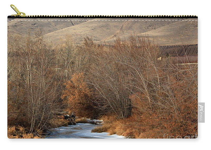 Yakima Carry-all Pouch featuring the photograph Winter Yakima River With Hills And Orchard by Carol Groenen