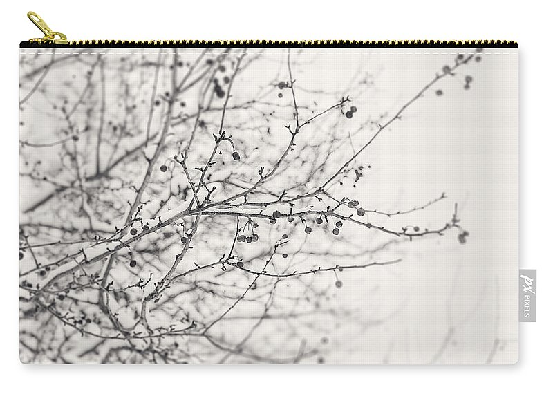 Nature Carry-all Pouch featuring the photograph Winter's Berries In Black And White by Lisa Russo