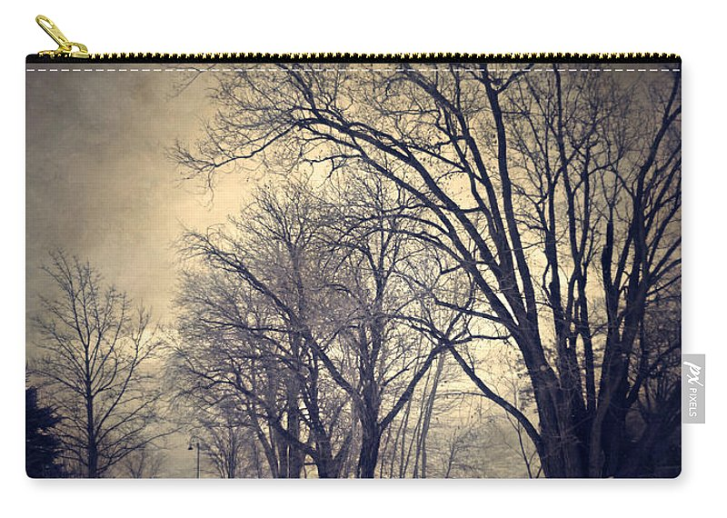 Texture Carry-all Pouch featuring the photograph Winter's Dark Thoughts by Tara Turner