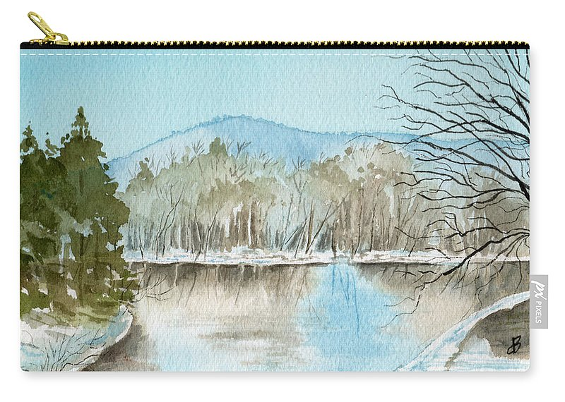 Landscape Carry-all Pouch featuring the painting Winter's Daylight Chill by Brenda Owen