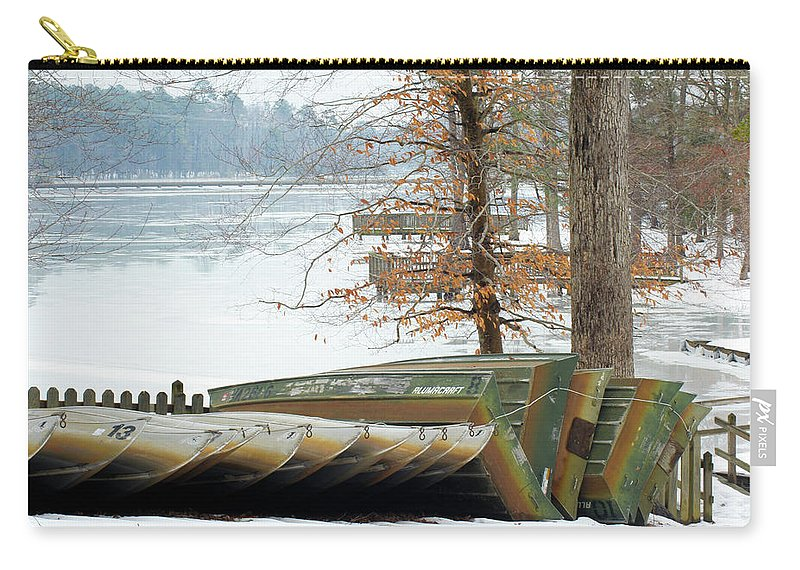Boat Carry-all Pouch featuring the photograph Winter's Rest by Haviland Photography