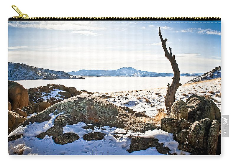 Winter Carry-all Pouch featuring the photograph Winter's Silence - Pathfinder Reservoir - Wyoming by Diane Mintle