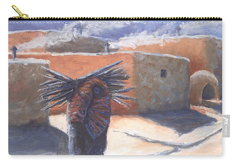 Adobe Carry-all Pouch featuring the painting Winter's Work by Jerry McElroy