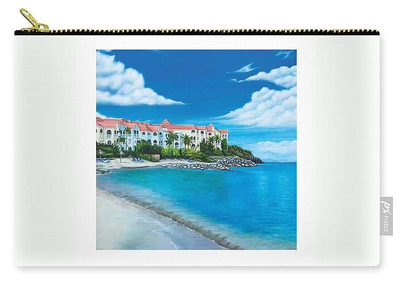 Carry-all Pouch featuring the painting Wip Divi Little Bay Beach by Cindy D Chinn