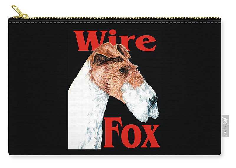 Art Carry-all Pouch featuring the digital art Wire Fox Terrier by Kathleen Sepulveda