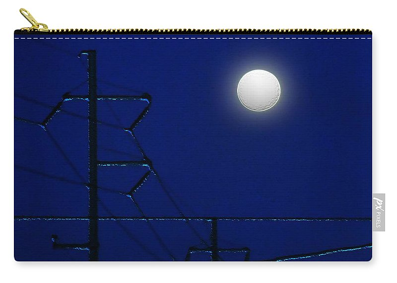 Moon Carry-all Pouch featuring the painting Wired Moon by RC deWinter