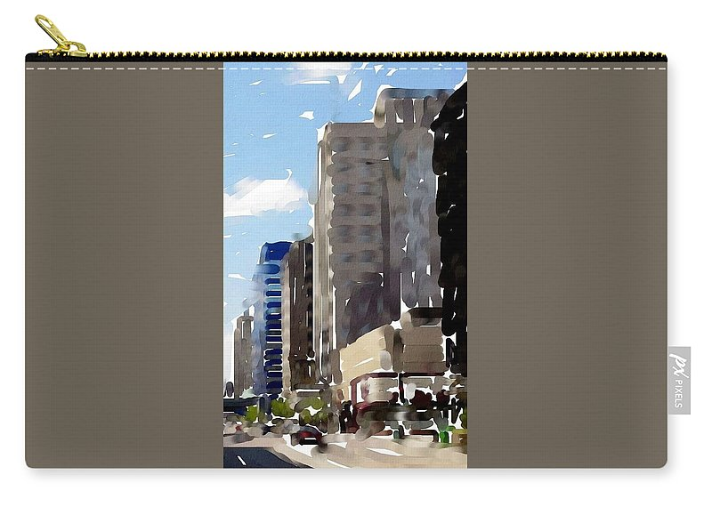 Milwaukee Carry-all Pouch featuring the digital art Wisconsin Ave 1 by Anita Burgermeister