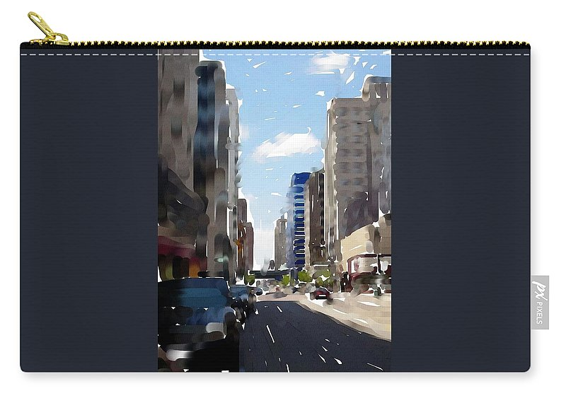 Milwaukee Carry-all Pouch featuring the digital art Wisconsin Ave 2 by Anita Burgermeister