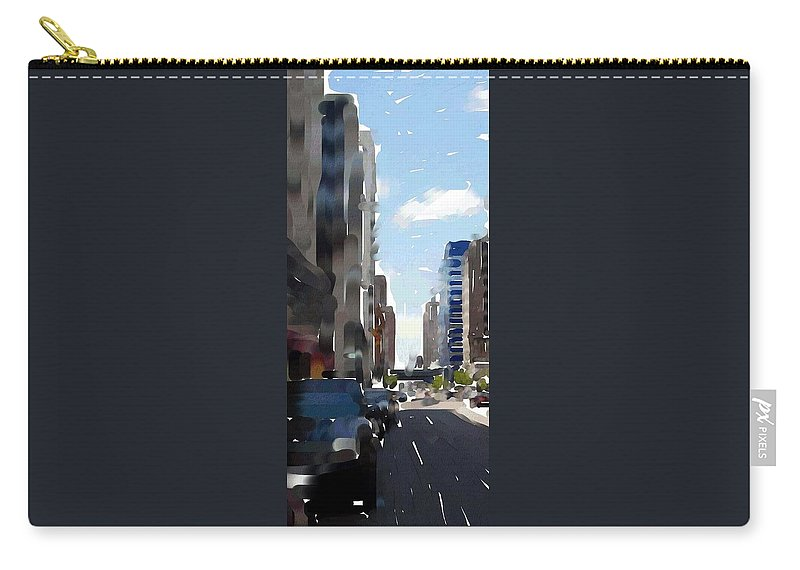 Milwaukee Carry-all Pouch featuring the digital art Wisconsin Ave 3 by Anita Burgermeister