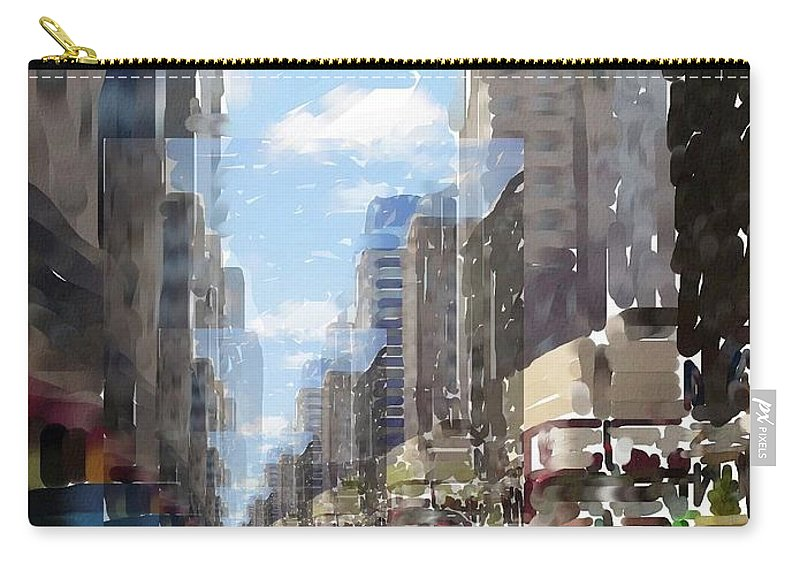 Milwaukee Carry-all Pouch featuring the digital art Wisconsin Ave Cubist by Anita Burgermeister