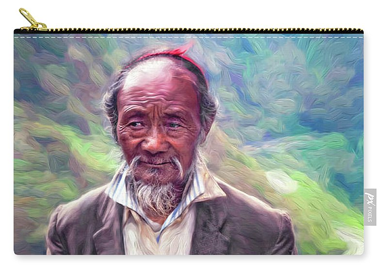 Tibetan Carry-all Pouch featuring the photograph Wisdom - A Year Later - Paint by Steve Harrington