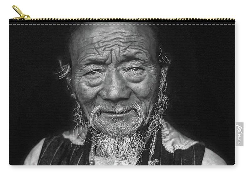 Tibetan Carry-all Pouch featuring the photograph Wisdom Monochrome by Steve Harrington