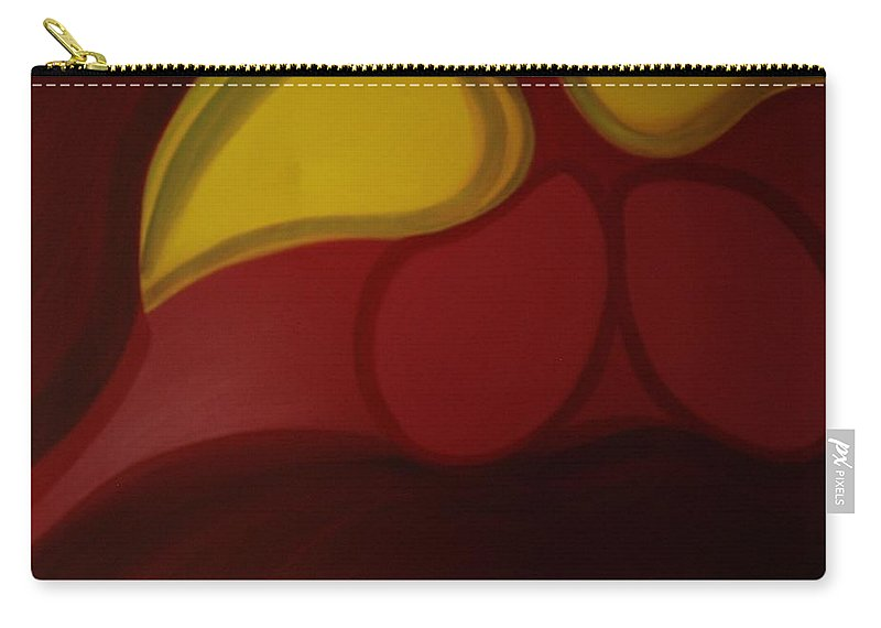 Red Yellow Abstract Painting Carry-all Pouch featuring the painting Wise Turtle by Svitlana Morhunov