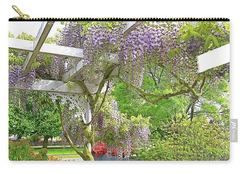 Wisteria Carry-all Pouch featuring the photograph Wistaria On Pergola by Nareeta Martin