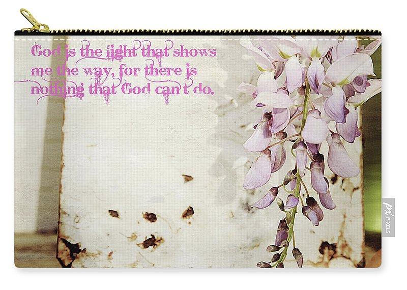 Nature Carry-all Pouch featuring the photograph God Is The Light Inspirational Floral Still Life by Toni Hopper