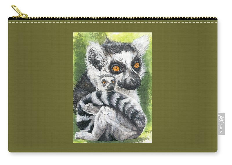 Lemur Carry-all Pouch featuring the mixed media Wistful by Barbara Keith