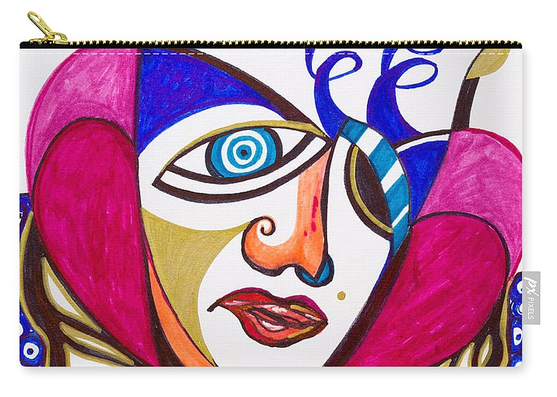 Heart Carry-all Pouch featuring the painting With Deep Thoughts And Tears - II by Laurel Rosenberg