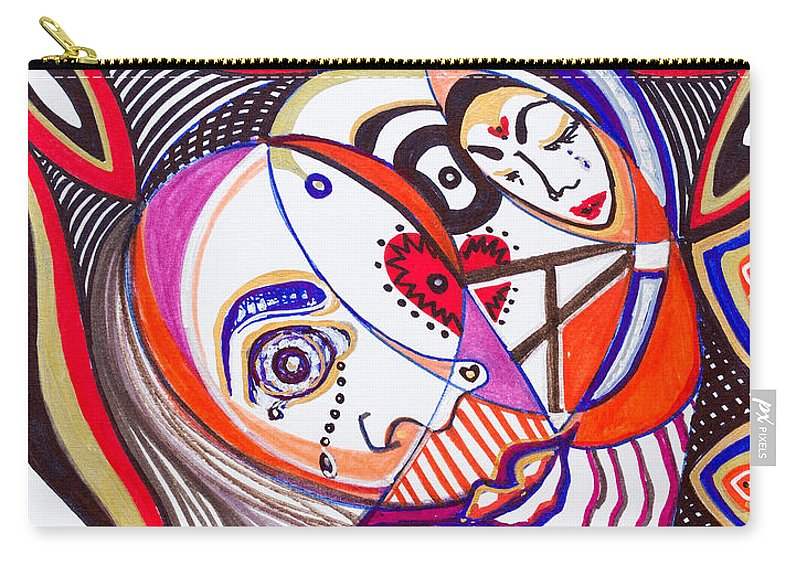 Heart Carry-all Pouch featuring the painting With Deep Thoughts And Tears - Iv by Laurel Rosenberg
