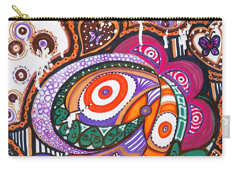 Heart Carry-all Pouch featuring the painting With Deep Thoughts And Tears - Vi by Laurel Rosenberg