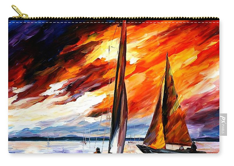 Afremov Carry-all Pouch featuring the painting With The Wind by Leonid Afremov