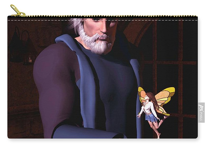 Wizard Carry-all Pouch featuring the digital art Wizard And Fairy by John Junek