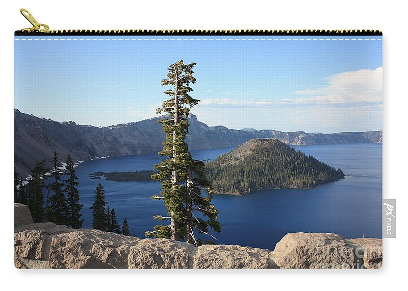 Wizard Island Carry-all Pouch featuring the photograph Wizard Island With Rock Fence At Crater Lake by Carol Groenen