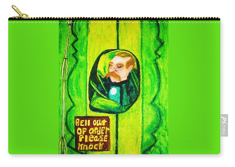 Wizard Of Oz Carry-all Pouch featuring the drawing Wizard Of Oz Gate Keeper by Jo-Ann Hayden