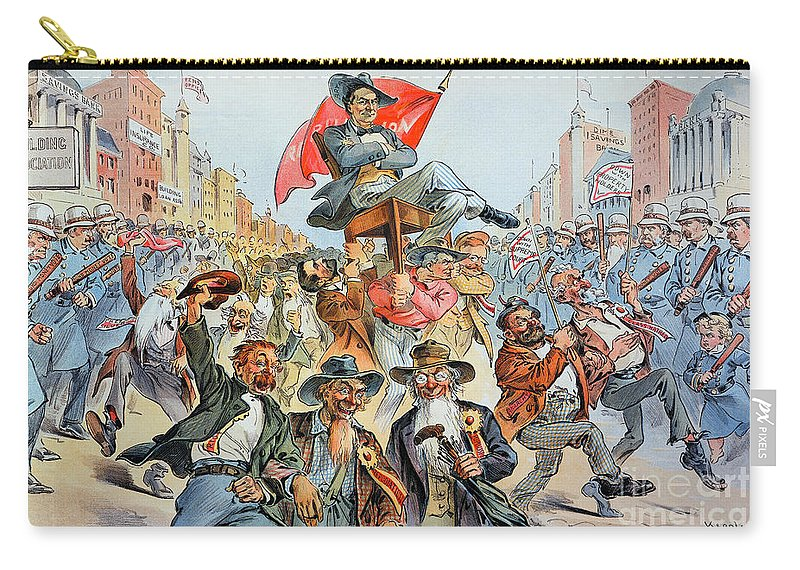 1896 Carry-all Pouch featuring the photograph W.j. Bryan Cartoon, 1896 by Granger