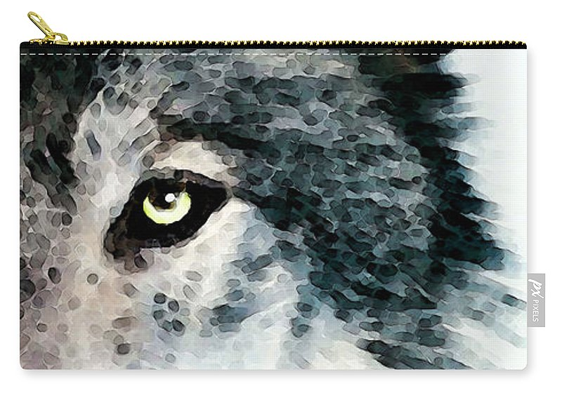 Wolf Carry-all Pouch featuring the painting Wolf Art - Timber by Sharon Cummings