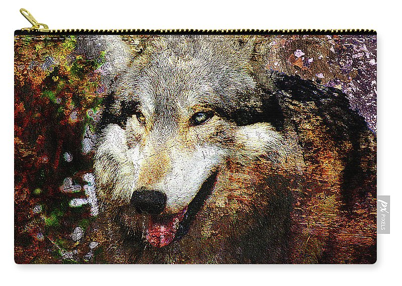 Wolf Carry-all Pouch featuring the digital art Wolf Art Version 8 by Takumi Park