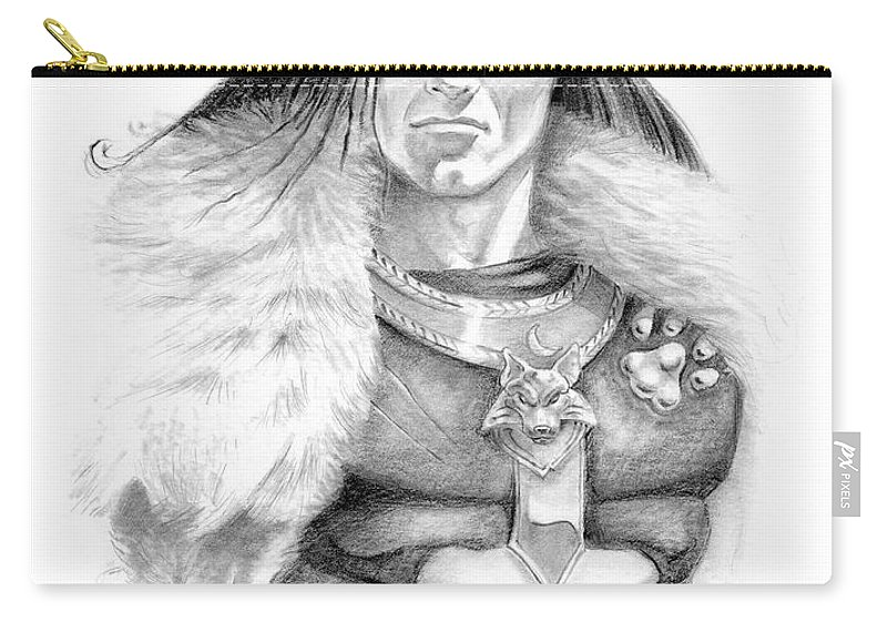 Barbarian Carry-all Pouch featuring the painting Wolf Barbarian by Melissa A Benson