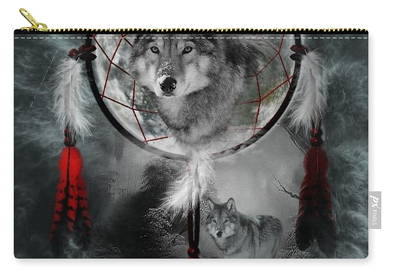Mystic Carry-all Pouch featuring the digital art Wolf Dreamcatcher by Ali Oppy