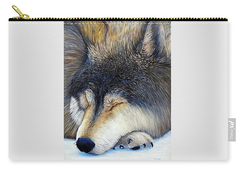 Wolf Carry-all Pouch featuring the painting Wolf Dreams by Brian Commerford