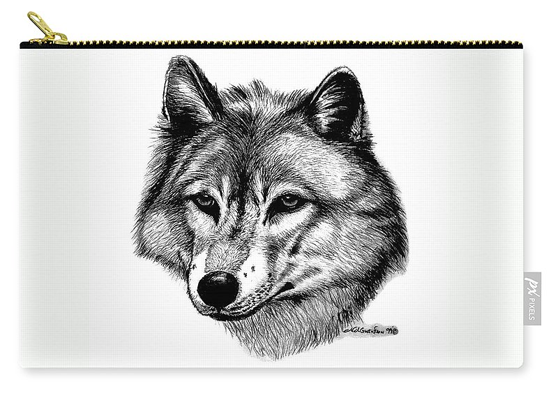 Wolf Carry-all Pouch featuring the drawing Wolf In Pencil by Nick Gustafson