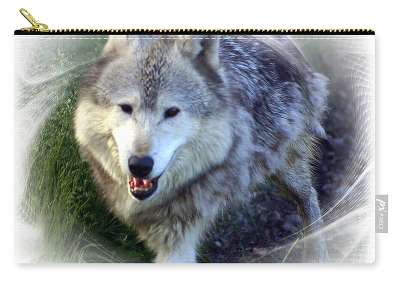 Wolf Carry-all Pouch featuring the photograph Wolf by Marty Koch