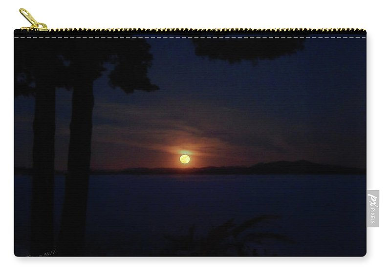 January Carry-all Pouch featuring the photograph Wolf Moon On The Rise by Wild Thing
