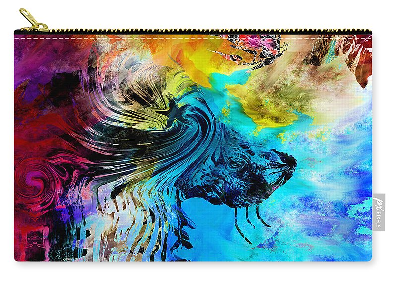 Wolf Carry-all Pouch featuring the digital art Wolf Playing With Butterflies by Abstract Angel Artist Stephen K