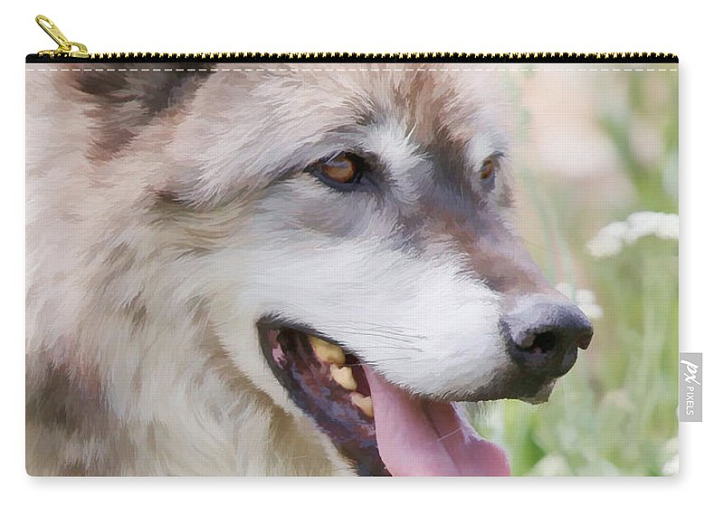 Wolves Carry-all Pouch featuring the photograph Wolf Smile by Athena Mckinzie